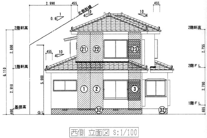 立面図からの外壁の平米数を算出