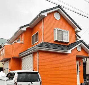 外壁塗装オレンジ色