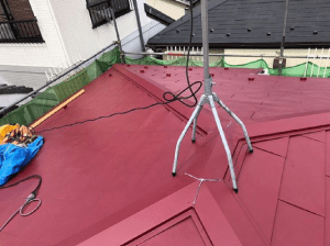 屋根塗装【朱色】