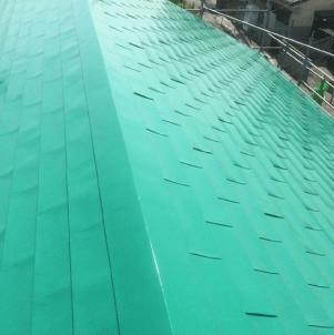 屋根塗装【エメラルドグリーン】