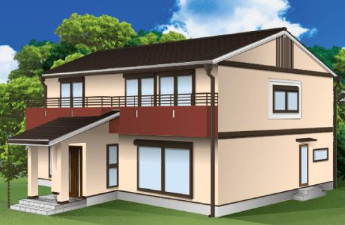 外壁塗装とベランダの色の組み合わせ例【ベージュ×ブラウン】