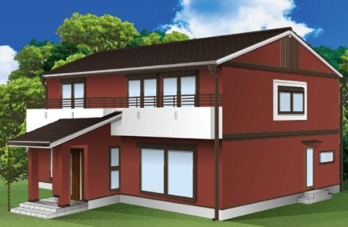 外壁塗装とベランダの色の組み合わせ例【ヤララブラウン×ホワイト】