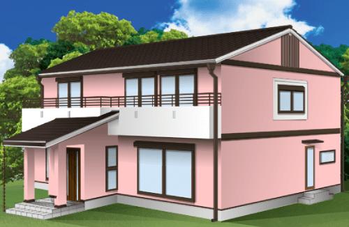 外壁塗装とベランダの色の組み合わせ例【ピンク×ホワイト】