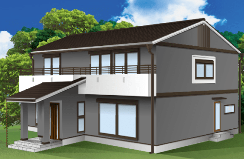 外壁塗装とベランダの色の組み合わせ例【グレー×ホワイト】
