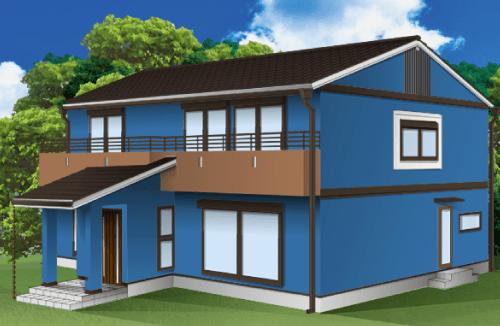 外壁塗装とベランダの色の組み合わせ例【ブルー×ブラウン】