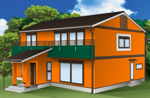 外壁塗装とベランダの色の組み合わせ例【オレンジ×グリーン】